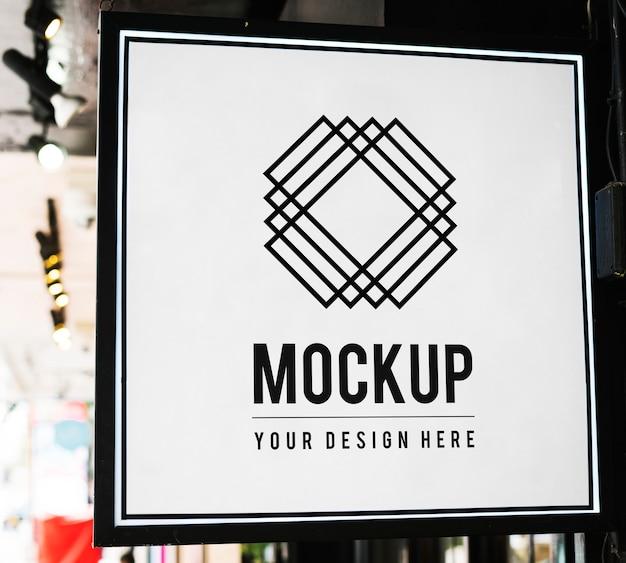 Minimal shop sign mockup with geometric design Free Psd