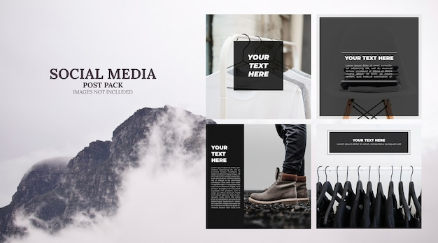 Minimal social media template post pack Free Psd