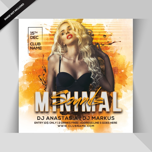 Minimal sounds party flyer Premium Psd
