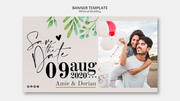 Minimal Template Wedding Banner Free Psd File