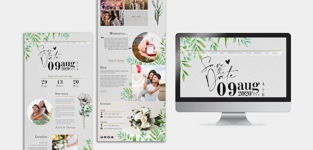 Minimal wedding blog template Free Psd