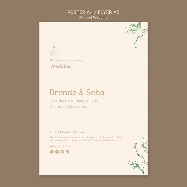Floral Minimal Wedding Flyer Template: Minimal Wedding Flyer Template