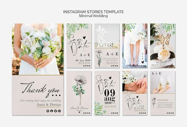 Minimal wedding instagram stories template Free Psd