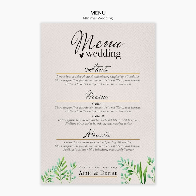 Minimal wedding menu template Free Psd