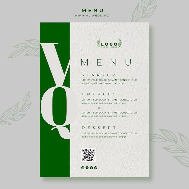 Шаблон минимального свадебного меню Бесплатные Psd