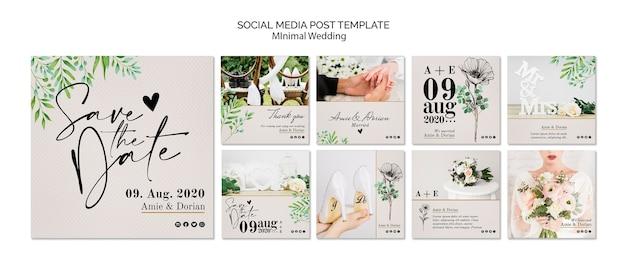 Minimal wedding social media post template Free Psd
