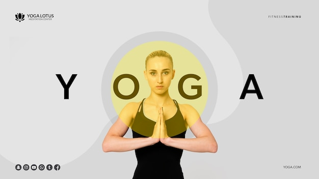 Minimal yoga pose with woman Free Psd