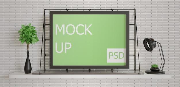 Минимализм, макет рамки пейзажа на стене стола Premium Psd