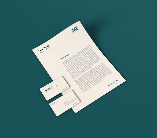 minimalist a4 paper with business card mockup psd file