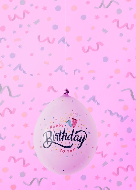 Minimalist balloons with blurred confetti background Free Psd