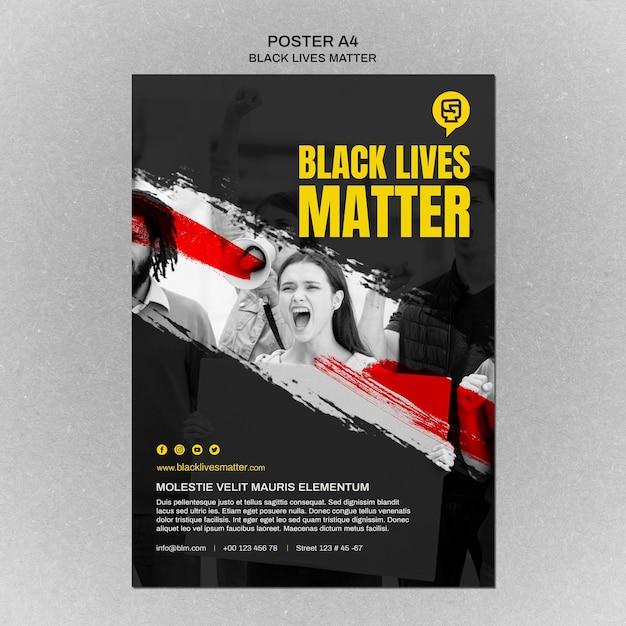 写真付きのミニマリストのブラックライフマターチラシ 無料 Psd