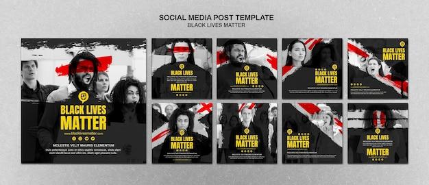 Минималистские черные жизни имеют значение сообщения в социальных сетях с фото Бесплатные Psd