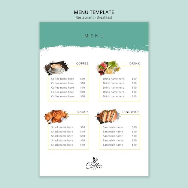 Минималистичный шаблон меню ресторана завтрака Бесплатные Psd