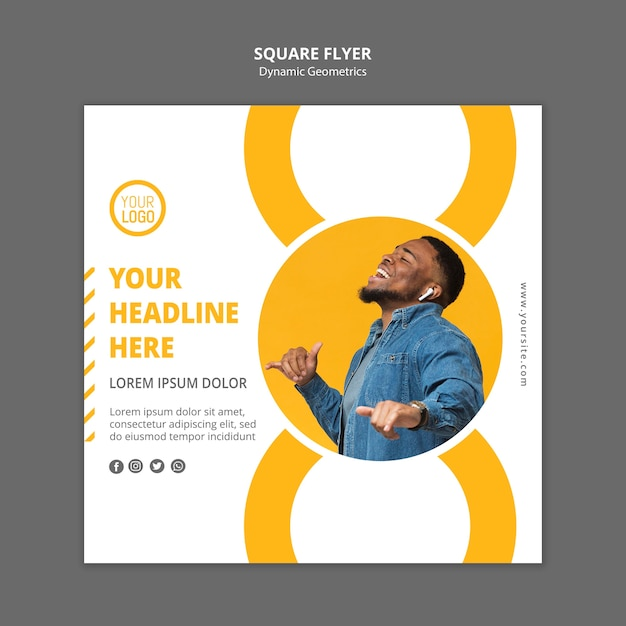 Minimalist business ad template square flyer Free Psd