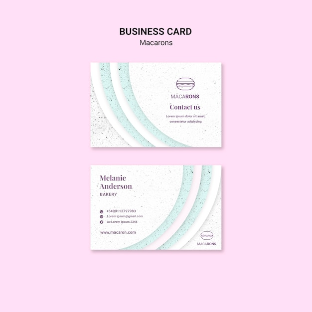 Minimalist concept for macarons business card Free Psd