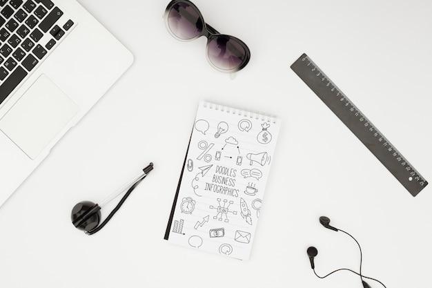 Minimalist desk concept mock-up Free Psd