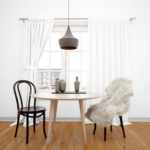 Free Psd Minimalist Dining Room With Table Facing The Window