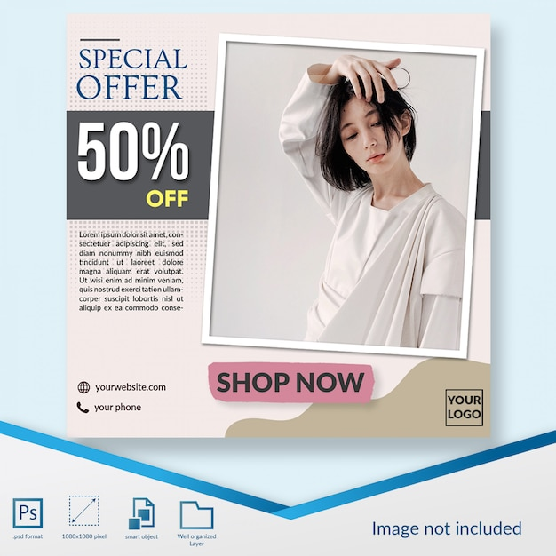 Minimalist fashion discount sale offer square banner or instagram post template Premium Psd