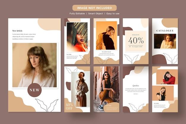 Minimalist fashion discount social media promo banner instagram template