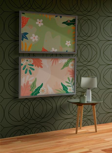 Минималистские серые рамки макет висит на стене Бесплатные Psd