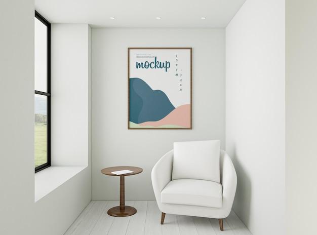 Composizione domestica minimalista con cornice mock-up Psd Gratuite