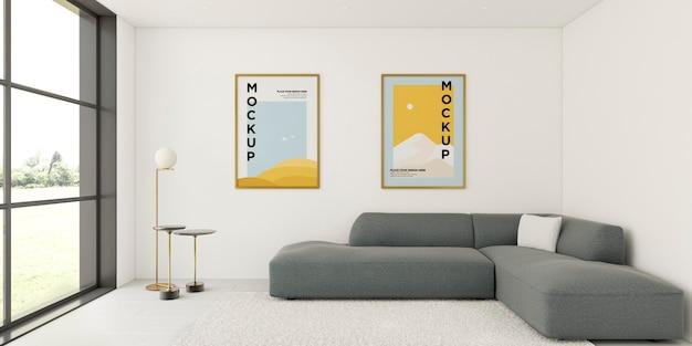 Minimalist interior arrangement with frames mock-up Free Psd