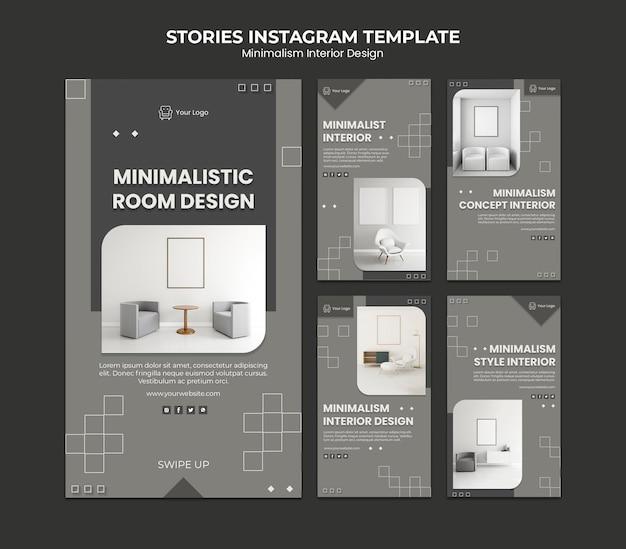 Modello di storie di instagram di interior design minimalista Psd Gratuite