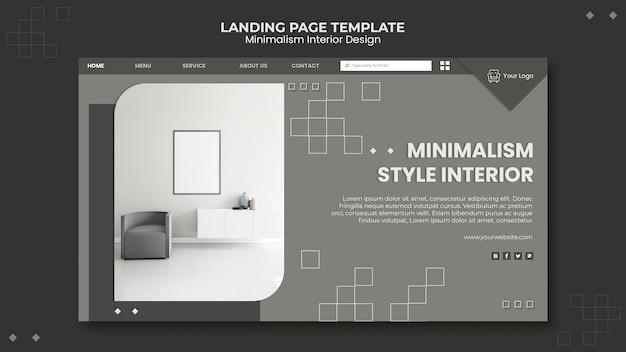 Modello di pagina di destinazione di interior design minimalista Psd Gratuite