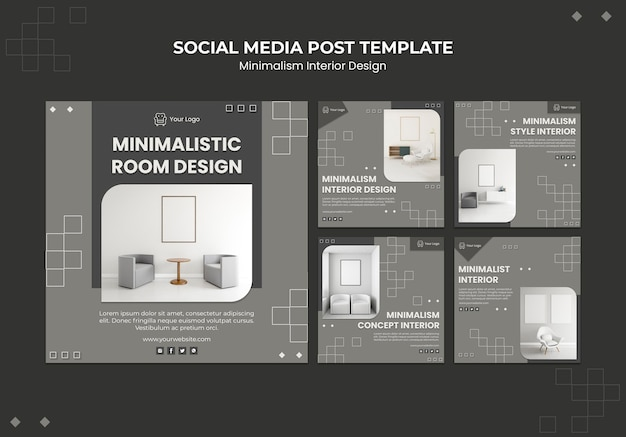 Minimalist interior design social media post template Premium Psd
