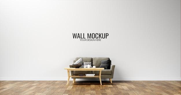Minimalist interior wall  mockup with brown sofa Premium Psd