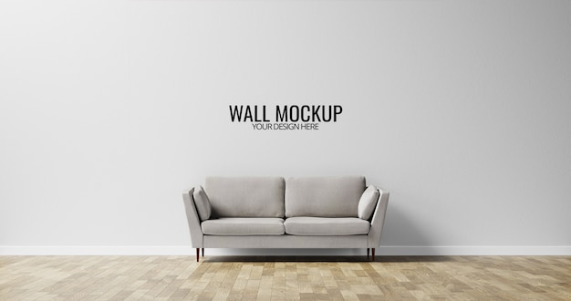 Minimalist interior wall  mockup with grey sofa Premium Psd