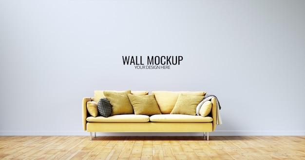Minimalist interior wall  mockup with yellow sofa Premium Psd