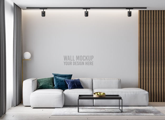 ミニマリストのリビングルームの壁のモックアップ Premium Psd