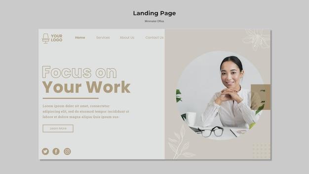 Design minimalista della pagina di destinazione dell'ufficio Psd Gratuite