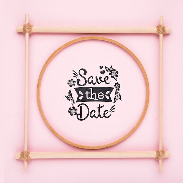 Minimalist pink frame save the date mock-up Free Psd