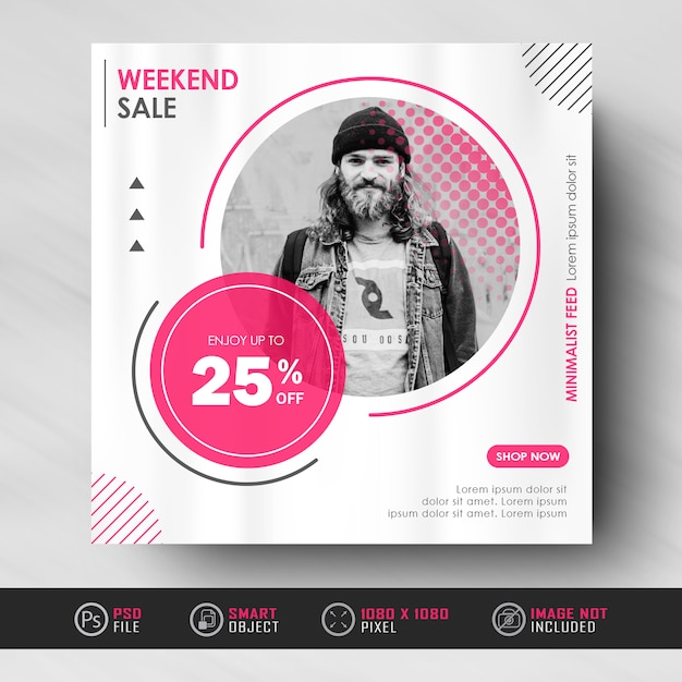 Minimalist red white instagram social media feed post fashion sale  banner template Premium Psd