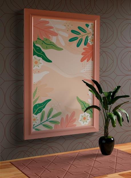 Минималистичный макет в виде розы на стене Бесплатные Psd