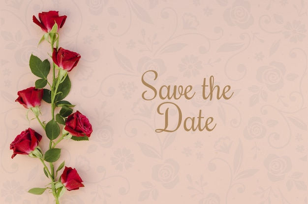 Minimalist save the date with roses Free Psd