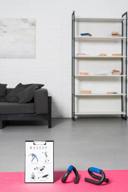 Minimalist sport at home design mock-up Free Psd