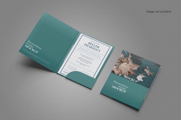 Minimalist two folder mockup design Premium Psd