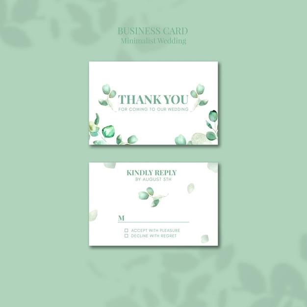 Minimalist wedding business card design Free Psd
