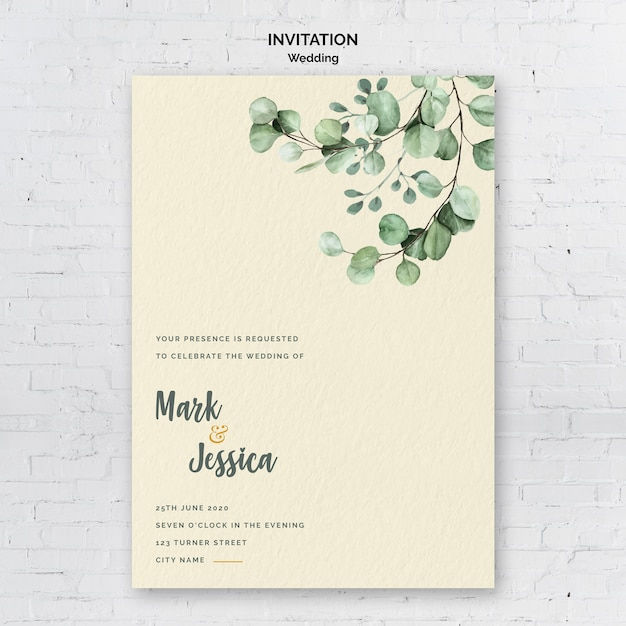 Minimalist wedding invitation Free Psd