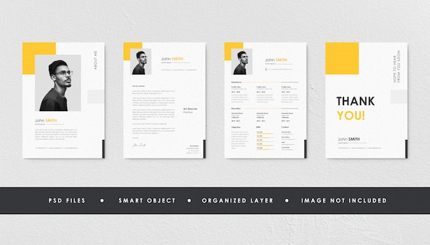 Minimalist yellow resume curriculum template collection Premium Psd