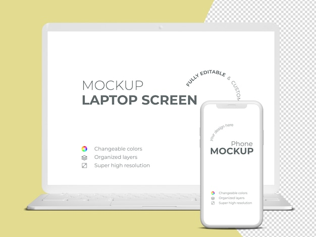 Minimalistic frontview laptop screen and phone mockup template Premium Psd