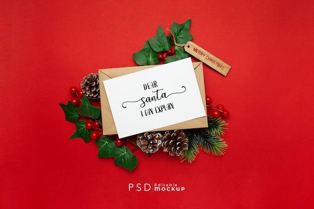 레드에 미 슬 토와 크리스마스 선물 무료 PSD 파일