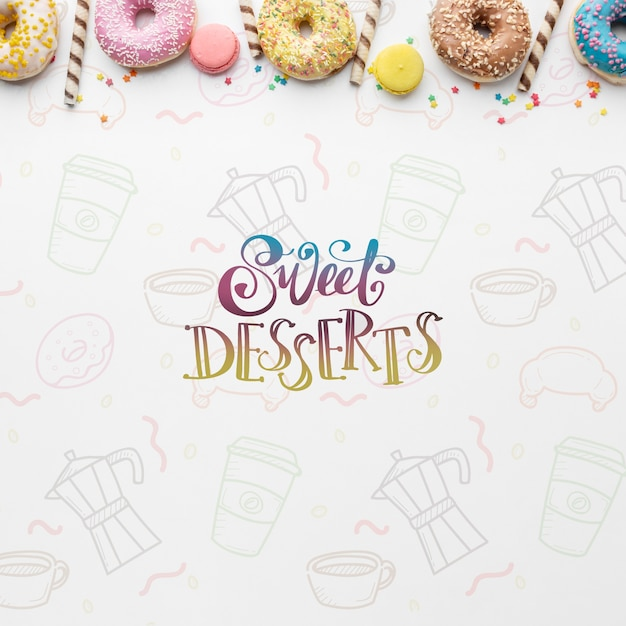 Mix of colorful donuts and wafer sticks with mock-up Free Psd