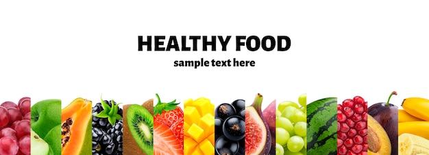 Смешайте пищевые ингредиенты, фрукты и ягоды коллекции Premium Psd