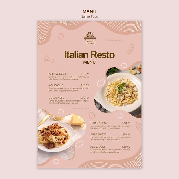 イタリア料理mneuテンプレート 無料 Psd
