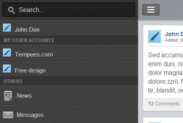 Mobile left vertical hidden menu PSD file | Free Download