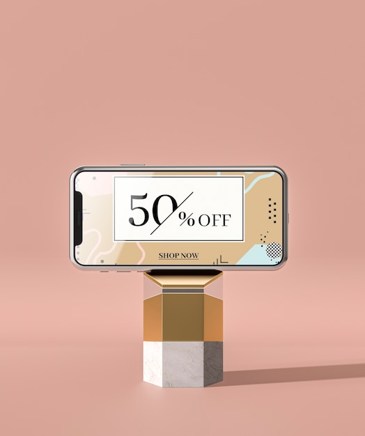 Mobile phone 3d mock-up on marble Free Psd